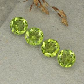 Medium Green Peridot Gem - 1.2ct Round Facet (ID: 480504)