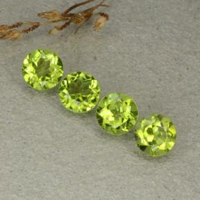 Lively Green Peridot Gem - 1.3ct Round Facet (ID: 480508)