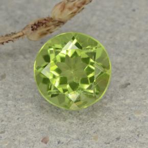 Light Lively Green Peridot Gem - 1.3ct Round Facet (ID: 480963)