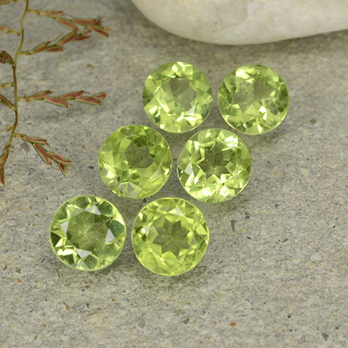 Lively Green Peridot Gem - 0.5ct Round Facet (ID: 489139)