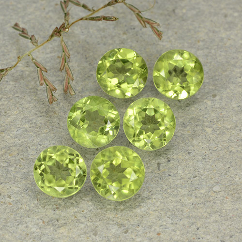 Lively Green Peridot Gem - 0.5ct Round Facet (ID: 489147)