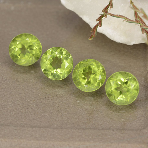Lively Green Peridot Gem - 0.5ct Round Facet (ID: 489152)