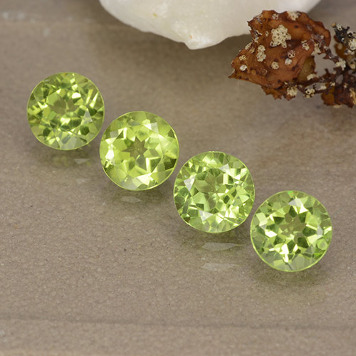 Lively Green Peridot Gem - 0.5ct Round Facet (ID: 489155)