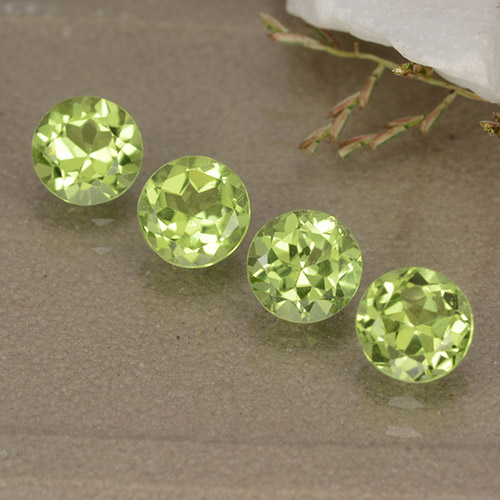 Lively Green Peridot Gem - 0.5ct Round Facet (ID: 489158)