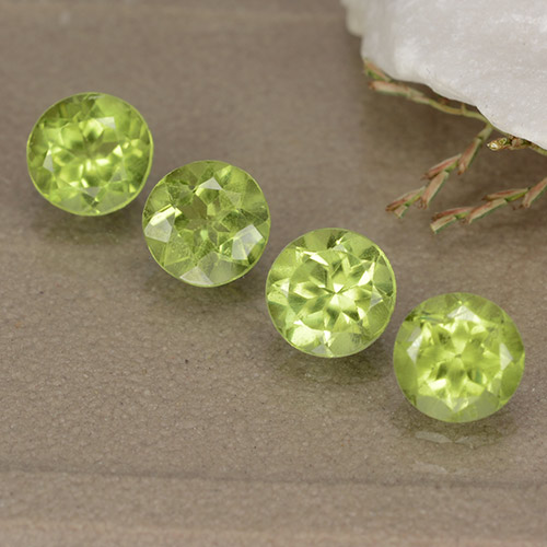 Lively Green Peridot Gem - 0.5ct Round Facet (ID: 489161)