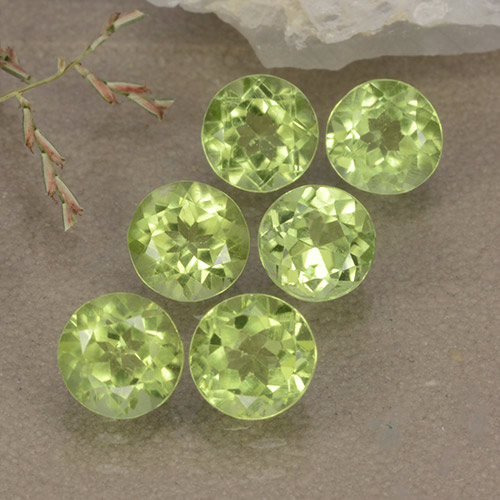 Lively Green Peridot Gem - 0.5ct Round Facet (ID: 489423)