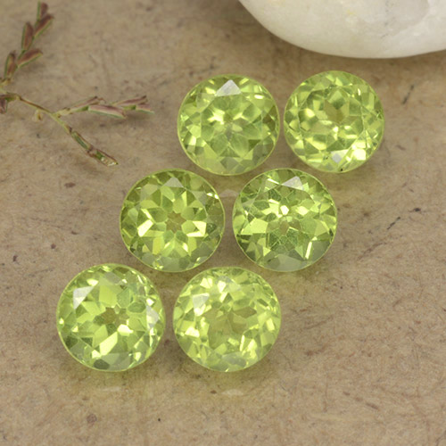 Lively Green Peridot Gem - 0.5ct Round Facet (ID: 489714)
