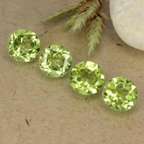 Lively Green Peridot Gem - 0.9ct Round Facet (ID: 490427)