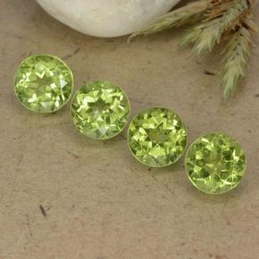 0.9ct Round Facet Lively Green Peridot Gem (ID: 490428)