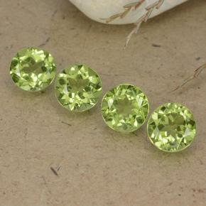 Lively Green Peridot Gem - 0.8ct Round Facet (ID: 490433)
