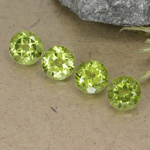Lively Green Peridot Gem - 0.8ct Round Facet (ID: 490548)