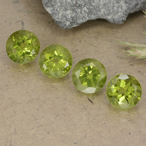 Lively Green Peridot Gem - 0.9ct Round Facet (ID: 490554)