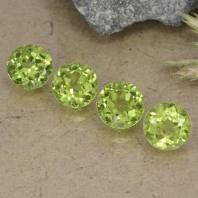 Lively Green Peridot Gem - 1ct Round Facet (ID: 490555)