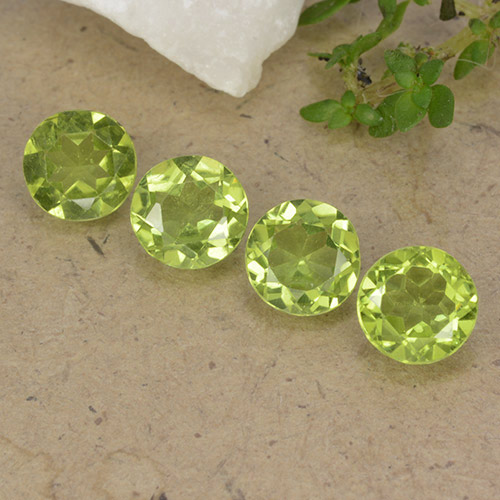 Lively Yellowish Green Peridoto Gema - 0.8ct Faceta Redonda (ID: 490596)