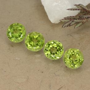 Lively Green Peridot Gem - 0.9ct Round Facet (ID: 490777)