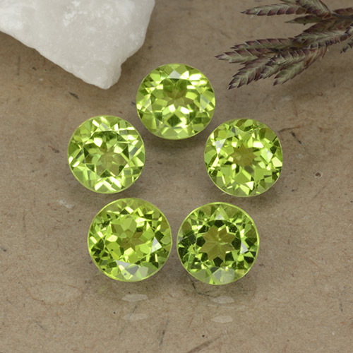 Lively Green Peridot Gem - 0.8ct Round Facet (ID: 490786)