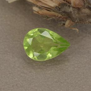Lively Green Peridot Gem - 0.7ct Pear Facet (ID: 497230)