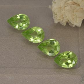 0.7ct Pear Facet Light Lively Green Peridot Gem (ID: 497236)