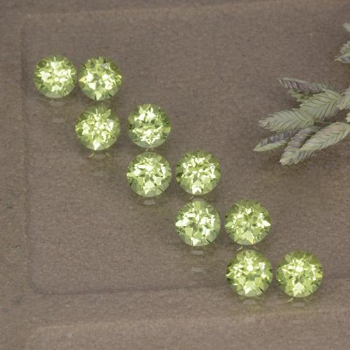 Lively Green Peridot Gem - 0.1ct Round Facet (ID: 498200)