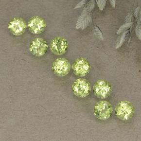 Light Lively Green Peridot Gem - 0.1ct Round Facet (ID: 498239)