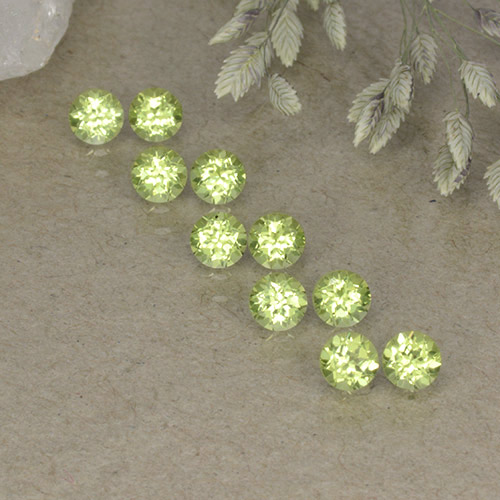 0.1ct Round Facet Lively Green Peridot Gem (ID: 498246)