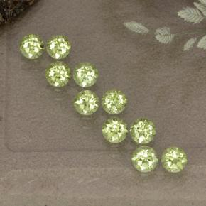 Lively Green Peridot Gem - 0.1ct Round Facet (ID: 498504)