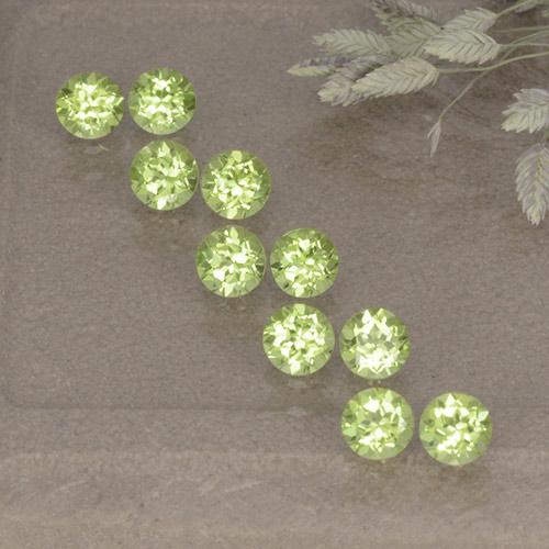 Light Lively Green 橄榄石 Gem - 0.1ct 圆形切面 (ID: 498514)
