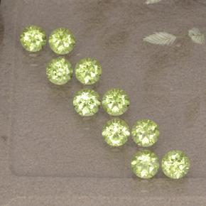 0.1ct Round Facet Lively Green Peridot Gem (ID: 498519)