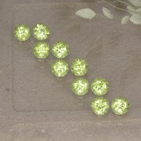 Lively Green Peridot Gem - 0.1ct Round Facet (ID: 498548)
