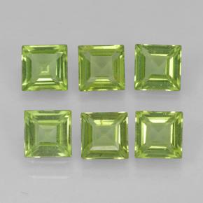 Lively Green Peridot Gem - 0.3ct Square Step-Cut (ID: 503644)