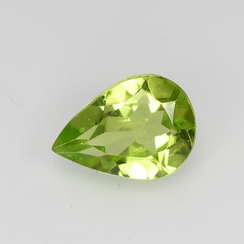 0.7ct Pear Facet Light Lively Green Peridot Gem (ID: 522505)