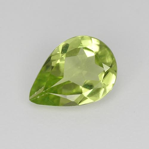 Light Lively Green Peridoto Gema - 0.6ct Corte en forma de pera (ID: 523483)