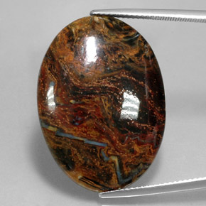 23.7ct Oval Cabochon Multicolor Pietersite Gem (ID: 346049)