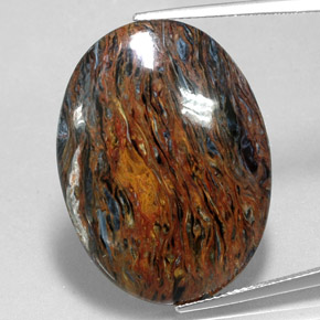 22.7ct Oval Cabochon Multicolor Pietersite Gem (ID: 350672)