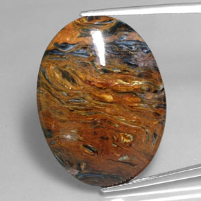 25.5ct Oval Cabochon Multicolor Pietersite Gem (ID: 351525)