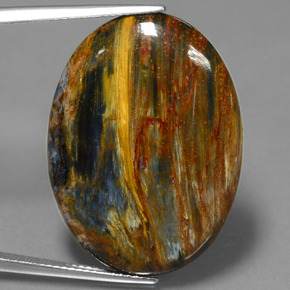 22.3ct Oval Cabochon Multicolor Pietersite Gem (ID: 447783)