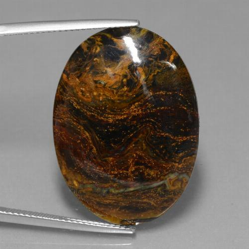 19.6ct Oval Cabochon Multicolor Pietersite Gem (ID: 447804)