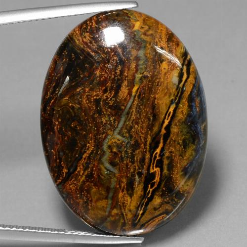 27.9ct Oval Cabochon Multicolor Pietersite Gem (ID: 447857)