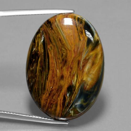 33.8ct Oval Cabochon Multicolor Pietersite Gem (ID: 447882)