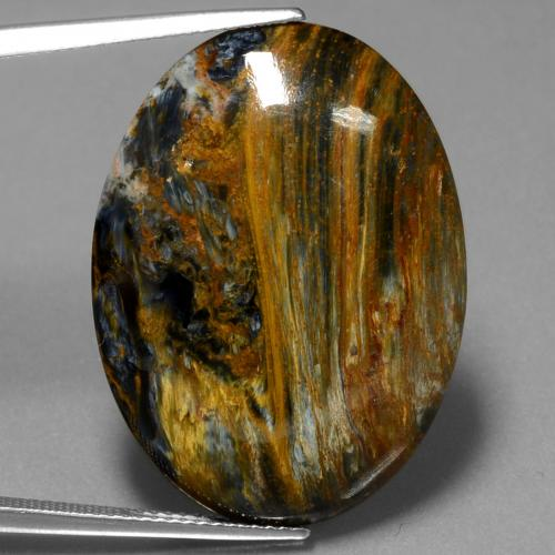 24.8ct Oval Cabochon Multicolor Pietersite Gem (ID: 447887)