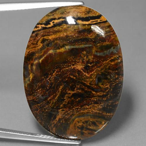 21.9ct Oval Cabochon Multicolor Pietersite Gem (ID: 447932)