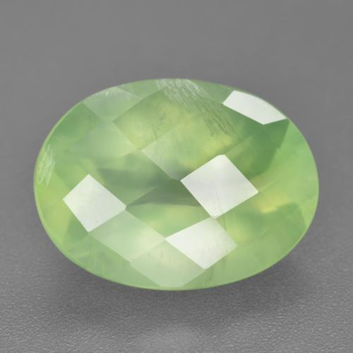 Green Prehnite Gem - 10.3ct Oval Checkerboard (ID: 218781)