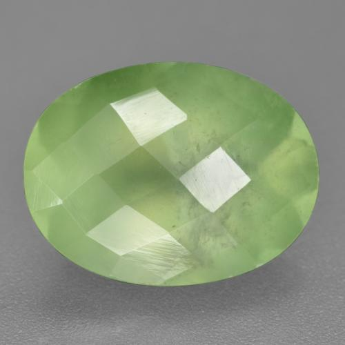 Green Prehnite Gem - 9.8ct Oval Checkerboard (ID: 219853)