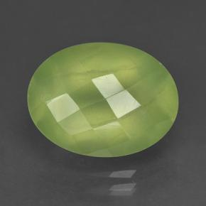 Green Prehnite Gem - 10ct Oval Checkerboard (ID: 225120)
