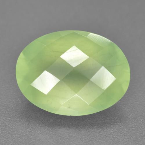 Green Prehnite Gem - 9.4ct Oval Checkerboard (ID: 227997)