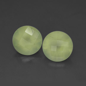 Yellow Green  Prehnite Gem - 1.9ct Round Checkerboard (ID: 305193)