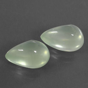 Light Greenish White Prehnite Gem - 2.6ct Pear Cabochon (ID: 312316)