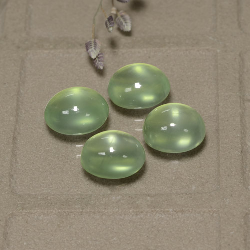 Green Prehnite Gem - 2ct Oval Cabochon (ID: 322524)