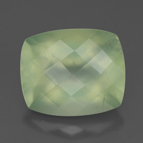 Pale Lime Green  Prehnite Gem - 5.7ct Checkerboard a cuscino (ID: 327575)