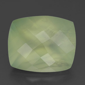 Pale Pear Green  Prehnite Gem - 5.1ct Checkerboard a cuscino (ID: 327624)
